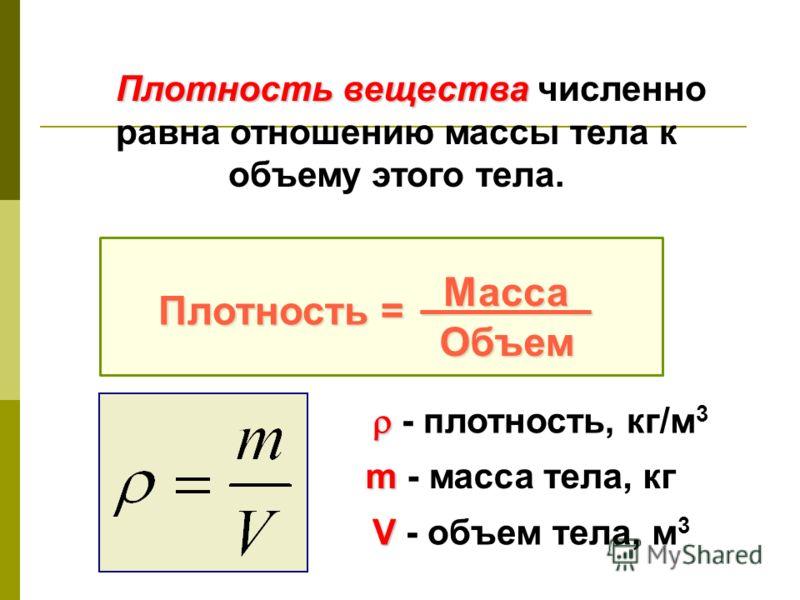 Плотность вещества Плотность вещества численно равна отношению массы тела к объему этого тела. Плотность = _Масса_ Объем - плотность, кг/м 3 m m - масса тела, кг V V - объем тела, м 3