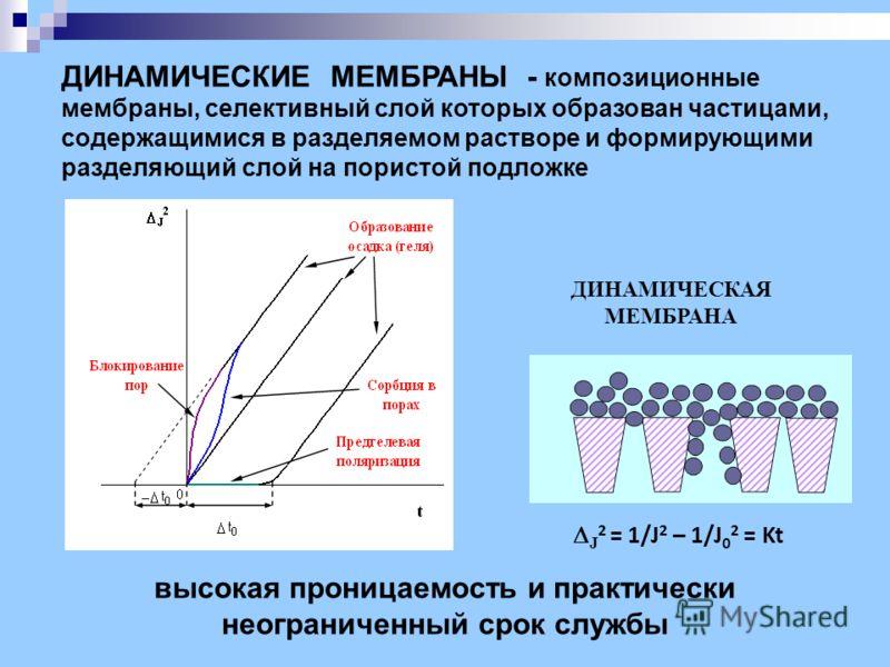 высокая проницаемость и практически неограниченный срок службы ДИНАМИЧЕСКИЕ МЕМБРАНЫ - композиционные мембраны, селективный слой которых образован частицами, содержащимися в разделяемом растворе и формирующими разделяющий слой на пористой подложке ДИ
