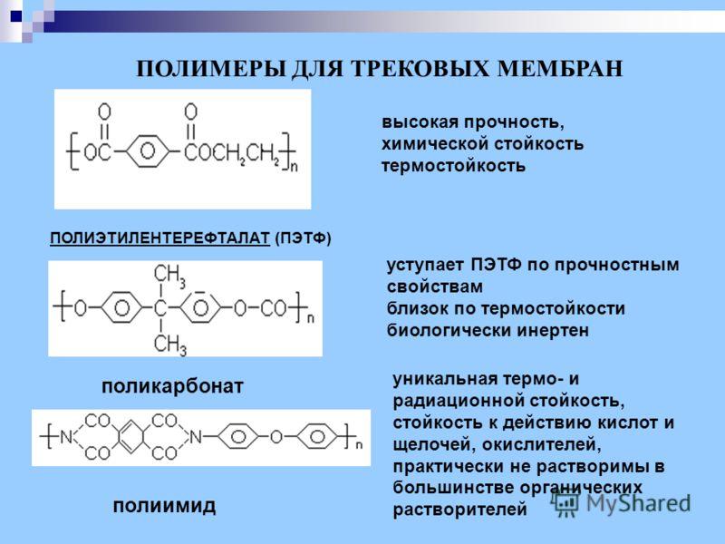 поликарбонат ПОЛИЭТИЛЕНТЕРЕФТАЛАТ (ПЭТФ) ПОЛИМЕРЫ ДЛЯ ТРЕКОВЫХ МЕМБРАН высокая прочность, химической стойкость термостойкость уступает ПЭТФ по прочностным свойствам близок по термостойкости биологически инертен полиимид уникальная термо- и радиационн