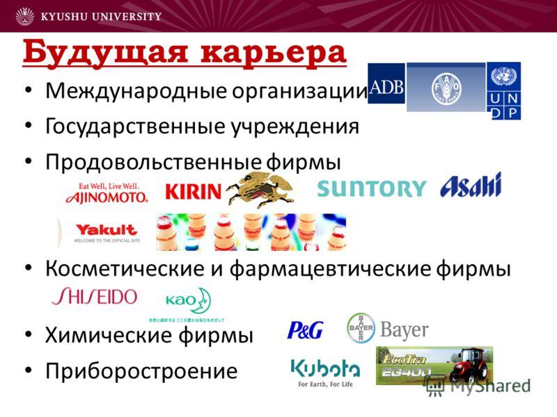 Будущая карьера Международные организации Государственные учреждения Продовольственные фирмы Косметические и фармацевтические фирмы Химические фирмы Приборостроение