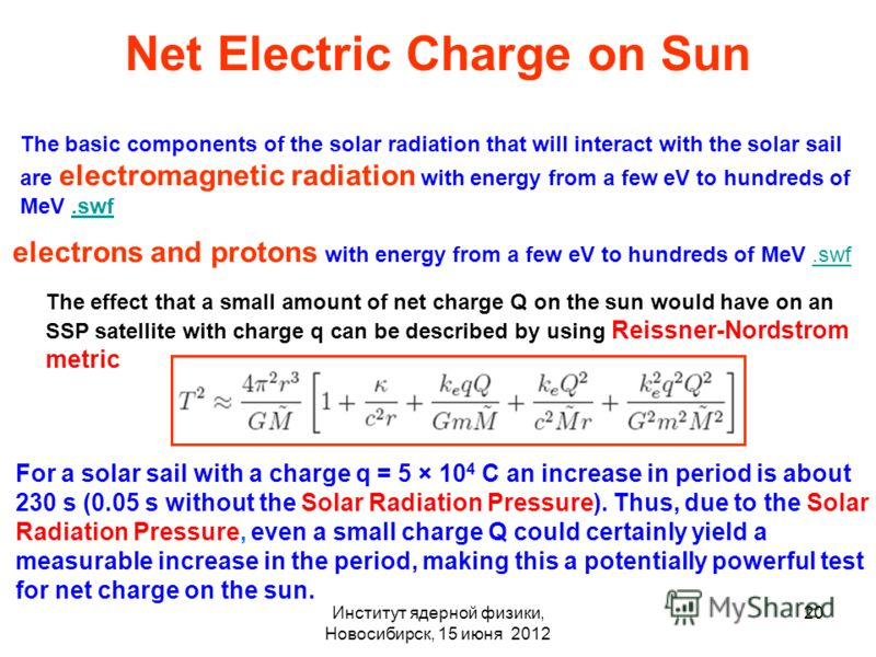 Институт ядерной физики, Новосибирск, 15 июня 2012 20 Net Electric Charge on Sun The basic components of the solar radiation that will interact with the solar sail are electromagnetic radiation with energy from a few eV to hundreds of MeV.swf.swf ele