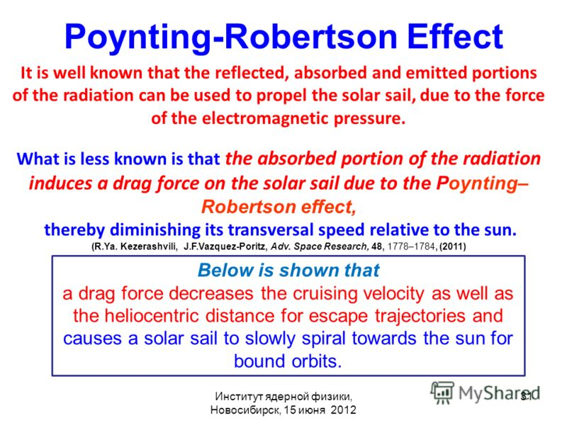 Poynting-Robertson Effect It is well known that the reflected, absorbed and emitted portions of the radiation can be used to propel the solar sail, due to the force of the electromagnetic pressure. What is less known is that the absorbed portion of t