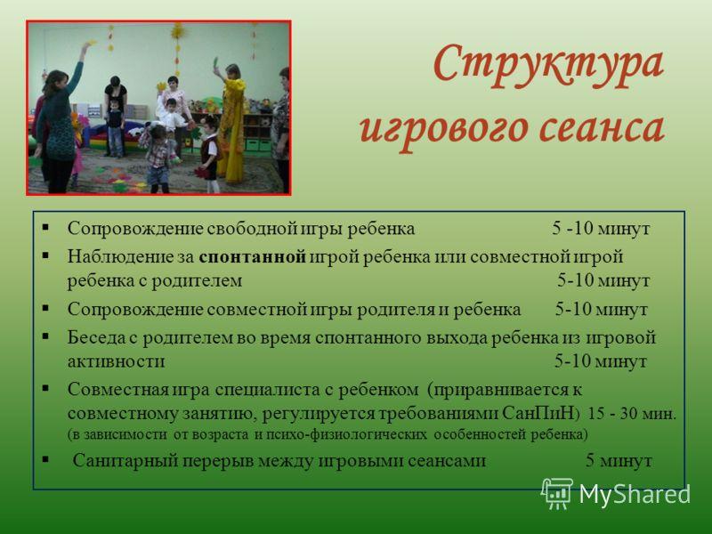Структура игрового сеанса Сопровождение свободной игры ребенка 5 -10 минут Наблюдение за спонтанной игрой ребенка или совместной игрой ребенка с родителем 5-10 минут Сопровождение совместной игры родителя и ребенка 5-10 минут Беседа с родителем во вр