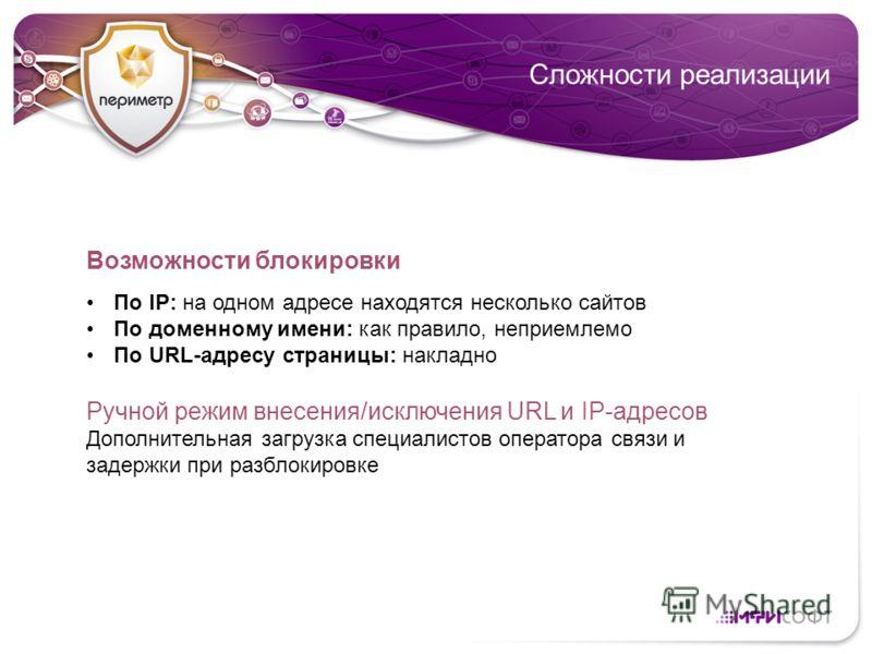 Сложности реализации Возможности блокировки По IP: на одном адресе находятся несколько сайтов По доменному имени: как правило, неприемлемо По URL-адресу страницы: накладно Ручной режим внесения/исключения URL и IP-адресов Дополнительная загрузка спец