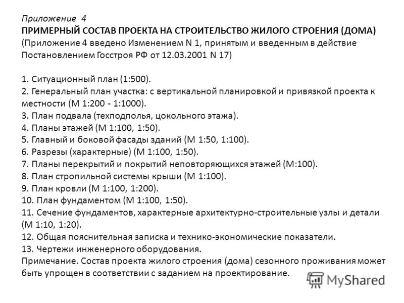 Приложение 4 ПРИМЕРНЫЙ СОСТАВ ПРОЕКТА НА СТРОИТЕЛЬСТВО ЖИЛОГО СТРОЕНИЯ (ДОМА) (Приложение 4 введено Изменением N 1, принятым и введенным в действие Постановлением Госстроя РФ от 12.03.2001 N 17) 1. Ситуационный план (1:500). 2. Генеральный план участ