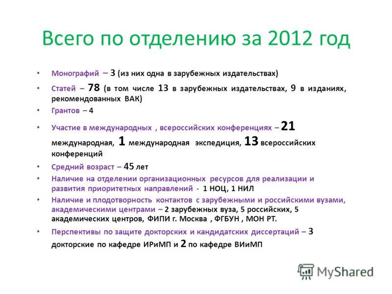 Всего по отделению за 2012 год Монографий – 3 (из них одна в зарубежных издательствах) Статей – 78 (в том числе 13 в зарубежных издательствах, 9 в изданиях, рекомендованных ВАК) Грантов – 4 Участие в международных, всероссийских конференциях – 21 меж