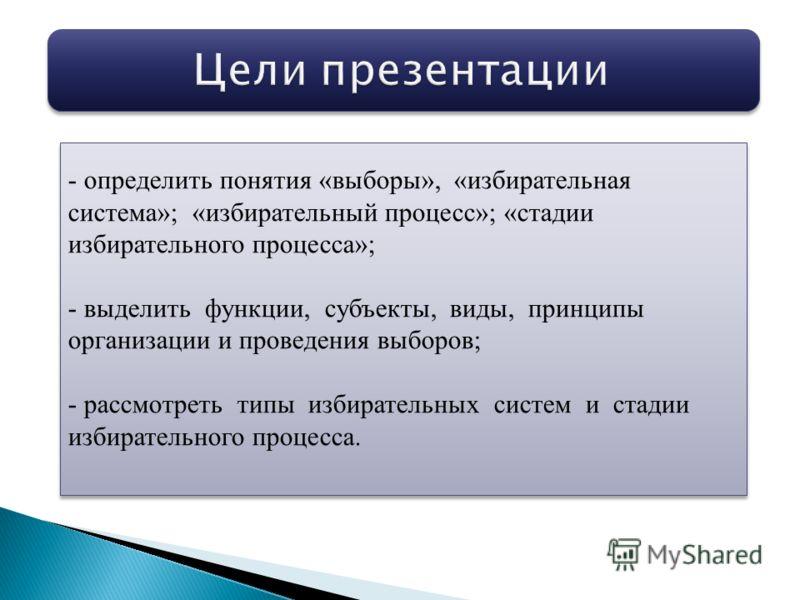 - определить понятия «выборы», «избирательная система»; «избирательный процесс»; «стадии избирательного процесса»; - выделить функции, субъекты, виды, принципы организации и проведения выборов; - рассмотреть типы избирательных систем и стадии избират