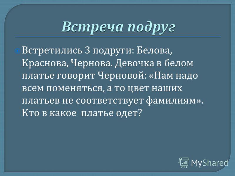 Встретились 3 подруги : Белова, Краснова, Чернова. Девочка в белом платье говорит Черновой : « Нам надо всем поменяться, а то цвет наших платьев не соответствует фамилиям ». Кто в какое платье одет ?