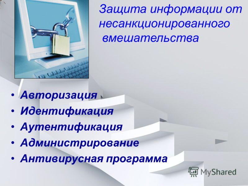 Авторизация Идентификация Аутентификация Администрирование Антивирусная программа Защита информации от несанкционированного вмешательства