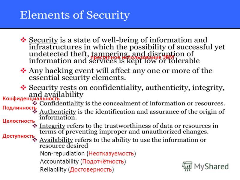 преступное использование ЭВМ Подлинность Целостность Конфиденциальность Доступность Non-repudiation (Неотказуемость) Accountability (Подотчётность) Reliability (Достоверность)