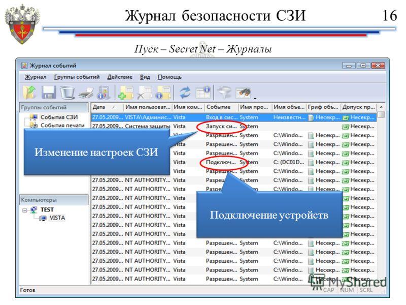 Пуск – Secret Net – Журналы Подключение устройств Изменение настроек СЗИ Журнал безопасности СЗИ16