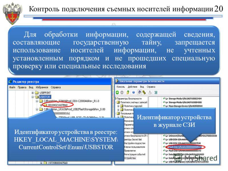 Для обработки информации, содержащей сведения, составляющие государственную тайну, запрещается использование носителей информации, не учтенных установленным порядком и не прошедших специальную проверку или специальные исследования Идентификатор устро