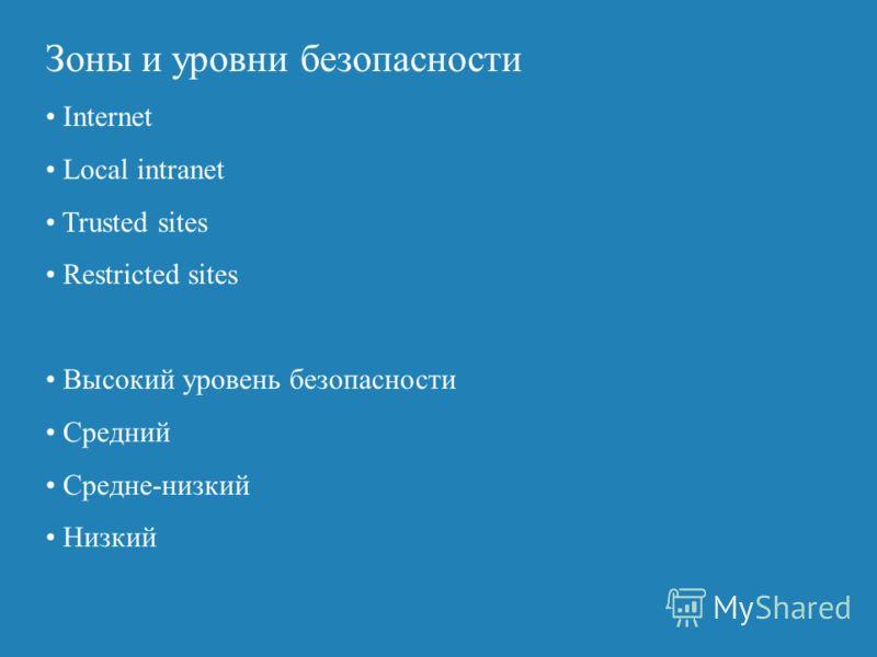 Зоны и уровни безопасности Internet Local intranet Trusted sites Restricted sites Высокий уровень безопасности Средний Средне-низкий Низкий