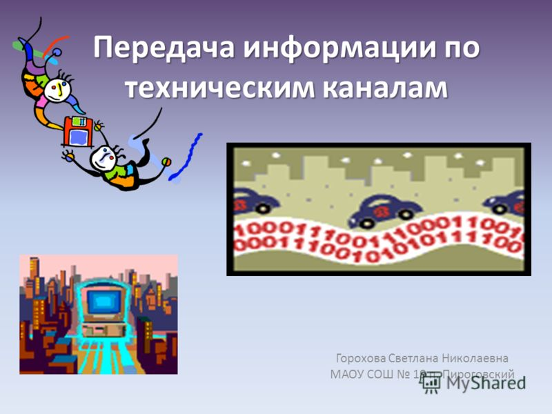 Передача информации по техническим каналам Горохова Светлана Николаевна МАОУ СОШ 19 п. Пироговский