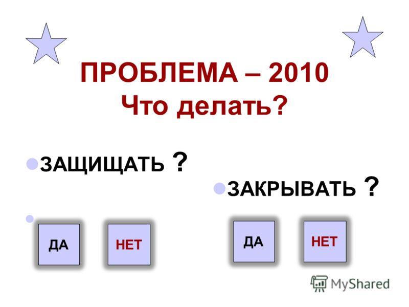 ПРОБЛЕМА – 2010 Что делать? ЗАЩИЩАТЬ ? ЗАКРЫВАТЬ ? ДА НЕТ НЕТ