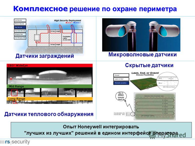 Комплексное решение по охране периметра Микроволновые датчики Опыт Honeywell интегрировать лучших из лучших решений в едином интерфейсе оператора Датчики теплового обнаружения Скрытые датчики Датчики заграждений