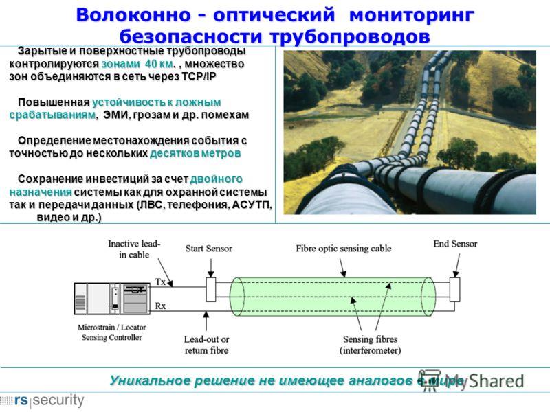 Волоконно - оптический мониторинг безопасности трубопроводов Уникальное решение не имеющее аналогов в мире Зарытые и поверхностные трубопроводы Зарытые и поверхностные трубопроводы контролируются зонами 40 км., множество зон объединяются в сеть через