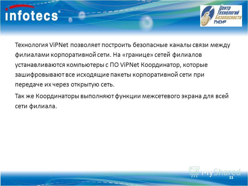 Технология ViPNet Технология ViPNet позволяет построить безопасные каналы связи между филиалами корпоративной сети. На «границе» сетей филиалов устанавливаются компьютеры с ПО ViPNet Координатор, которые зашифровывают все исходящие пакеты корпоративн