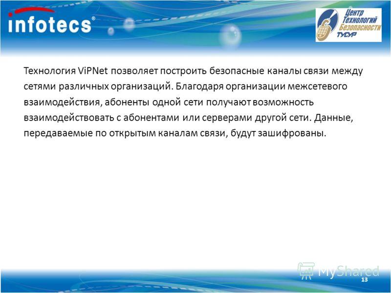 Технология ViPNet Технология ViPNet позволяет построить безопасные каналы связи между сетями различных организаций. Благодаря организации межсетевого взаимодействия, абоненты одной сети получают возможность взаимодействовать с абонентами или серверам