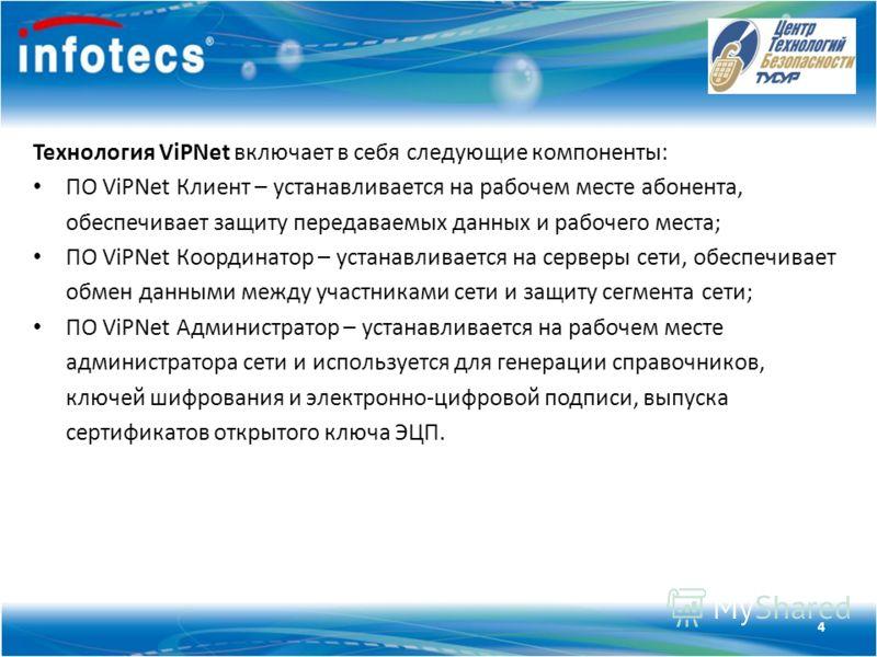 Технология ViPNet Технология ViPNet включает в себя следующие компоненты: ПО ViPNet Клиент – устанавливается на рабочем месте абонента, обеспечивает защиту передаваемых данных и рабочего места; ПО ViPNet Координатор – устанавливается на серверы сети,