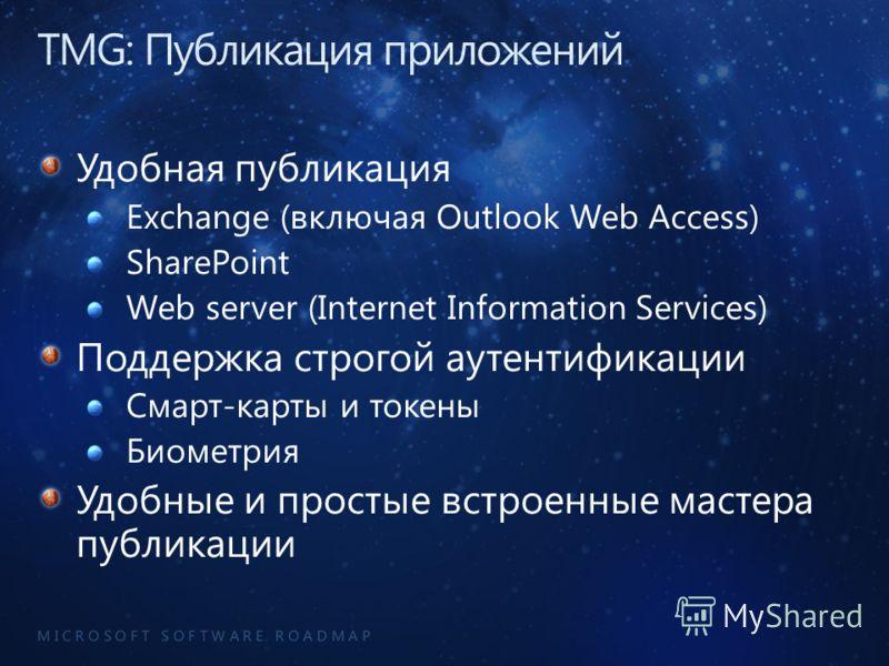 M I C R O S O F T S O F T W A R E R O A D M A P Удобная публикация Exchange (включая Outlook Web Access) SharePoint Web server (Internet Information Services) Поддержка строгой аутентификации Смарт-карты и токены Биометрия Удобные и простые встроенны