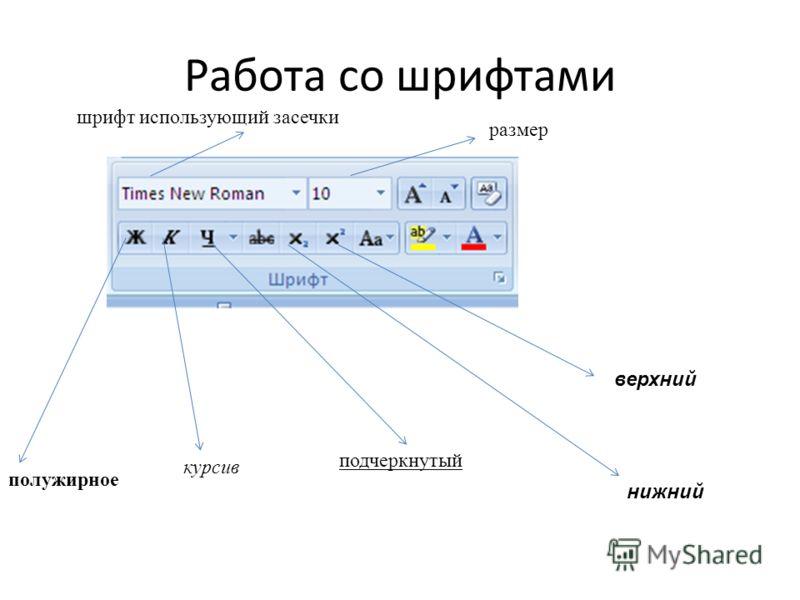 Работа со шрифтами курсив полужирное подчеркнутый шрифт использующий засечки размер верхний нижний