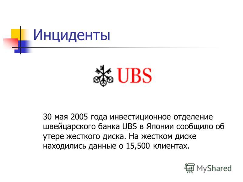 Инциденты 30 мая 2005 года инвестиционное отделение швейцарского банка UBS в Японии сообщило об утере жесткого диска. На жестком диске находились данные о 15,500 клиентах.