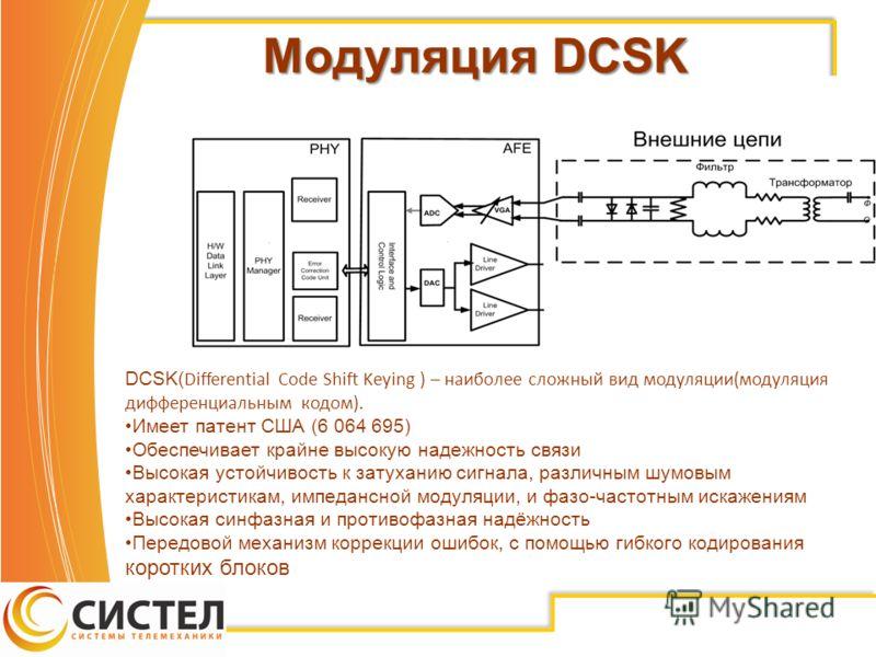 Модуляция DCSK DCSK( Differential Code Shift Keying ) – наиболее сложный вид модуляции(модуляция дифференциальным кодом). Имеет патент США (6 064 695) Обеспечивает крайне высокую надежность связи Высокая устойчивость к затуханию сигнала, различным шу