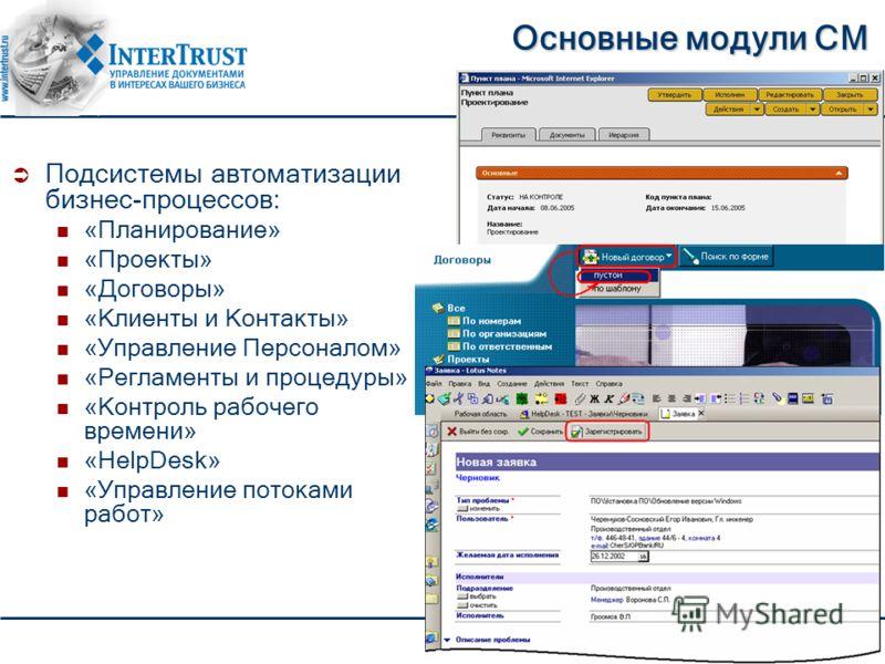 Основные модули CM Подсистемы автоматизации бизнес-процессов: «Планирование» «Проекты» «Договоры» «Клиенты и Контакты» «Управление Персоналом» «Регламенты и процедуры» «Контроль рабочего времени» «HelpDesk» «Управление потоками работ»
