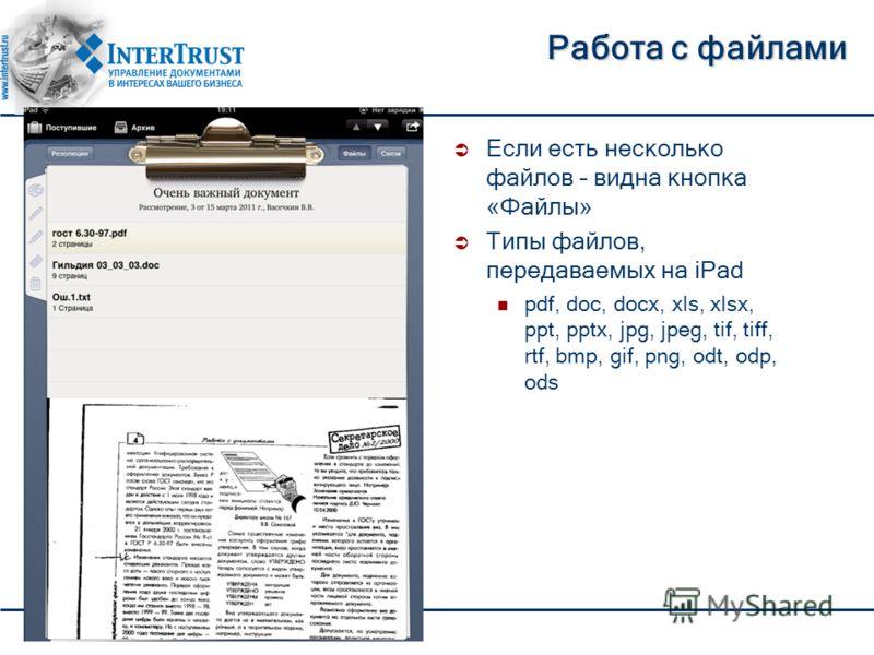 Работа с файлами Если есть несколько файлов – видна кнопка «Файлы» Типы файлов, передаваемых на iPad pdf, doc, docx, xls, xlsx, ppt, pptx, jpg, jpeg, tif, tiff, rtf, bmp, gif, png, odt, odp, ods