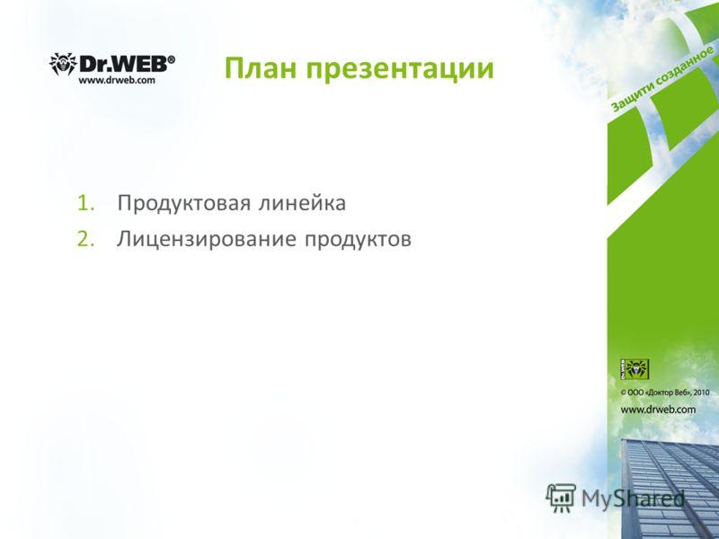 План презентации 1.Продуктовая линейка 2.Лицензирование продуктов