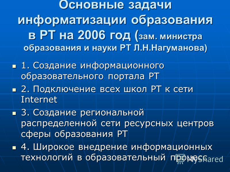 Основные задачи информатизации образования в РТ на 2006 год ( зам. министра образования и науки РТ Л.Н.Нагуманова) 1. Создание информационного образовательного портала РТ 1. Создание информационного образовательного портала РТ 2. Подключение всех шко