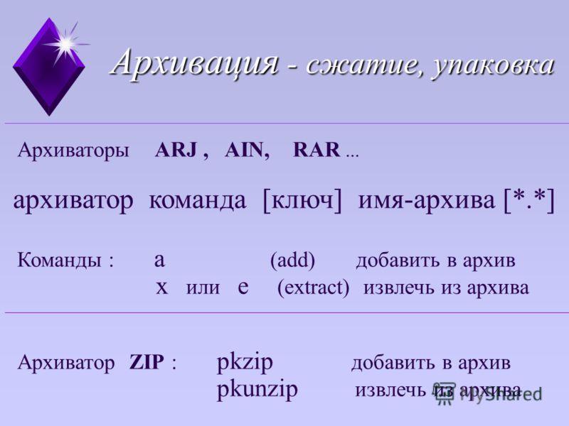 Архивация - сжатие, упаковка Архиваторы ARJ, AIN, RAR... архиватор команда [ключ] имя-архива [*.*] Команды : a (add) добавить в архив x или e (extract) извлечь из архива Архиватор ZIP : pkzip добавить в архив pkunzip извлечь из архива