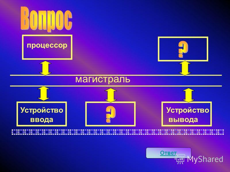 Ответ магистраль процессор Устройство ввода Устройство вывода