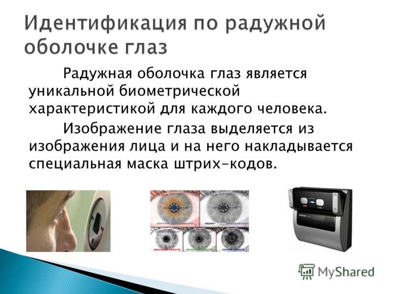 Радужная оболочка глаз является уникальной биометрической характеристикой для каждого человека. Изображение глаза выделяется из изображения лица и на него накладывается специальная маска штрих-кодов.
