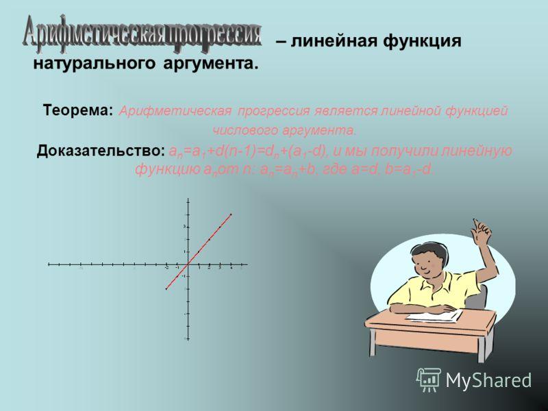 – линейная функция натурального аргумента. Теорема: Арифметическая прогрессия является линейной функцией числового аргумента. Доказательство: a n =a 1 +d(n-1)=d n +(a 1 -d), и мы получили линейную функцию a n от n: a n =a n +b, где а=d, b=a 1 -d.
