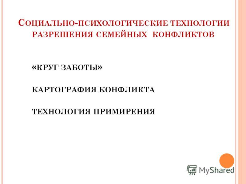 С ОЦИАЛЬНО - ПСИХОЛОГИЧЕСКИЕ ТЕХНОЛОГИИ РАЗРЕШЕНИЯ СЕМЕЙНЫХ КОНФЛИКТОВ « КРУГ ЗАБОТЫ » КАРТОГРАФИЯ КОНФЛИКТА ТЕХНОЛОГИЯ ПРИМИРЕНИЯ