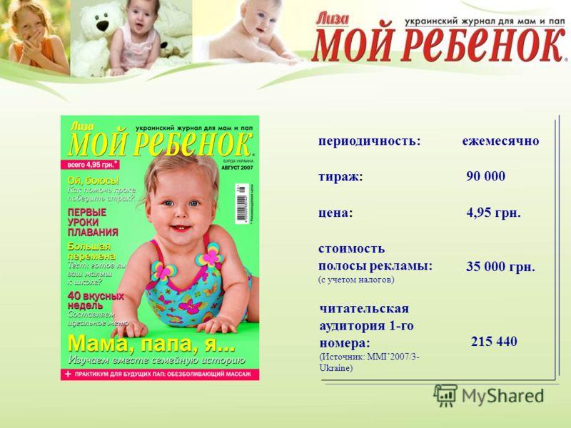 цена: 4,95 грн. стоимость полосы рекламы: (с учетом налогов) тираж: 90 000 читательская аудитория 1-го номера: (Источник: MMI2007/3- Ukraine) 215 440 периодичность:ежемесячно 35 000 грн.