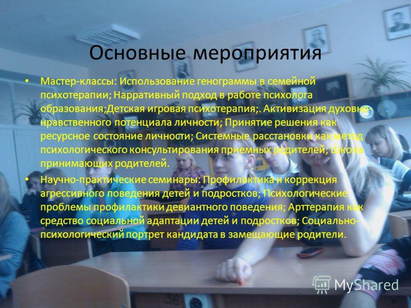 Основные мероприятия Мастер-классы: Использование генограммы в семейной психотерапии; Нарративный подход в работе психолога образования;Детская игровая психотерапия;. Активизация духовно- нравственного потенциала личности; Принятие решения как ресурс