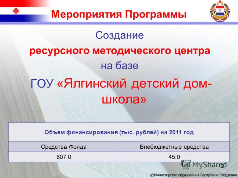 Мероприятия Программы Создание ресурсного методического центра на базе ГОУ «Ялгинский детский дом- школа» Объем финансирования (тыс. рублей) на 2011 год Средства ФондаВнебюджетные средства 607,045,0 12