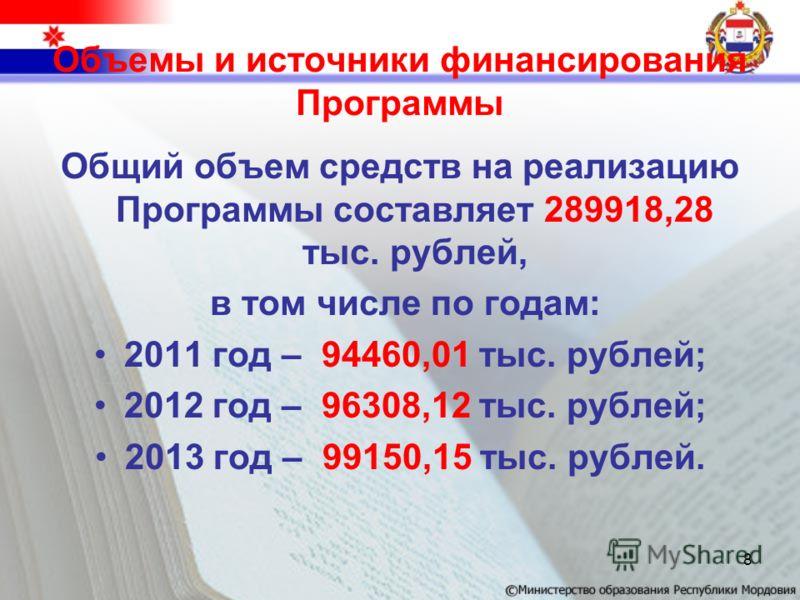 Объемы и источники финансирования Программы Общий объем средств на реализацию Программы составляет 289918,28 тыс. рублей, в том числе по годам: 2011 год – 94460,01 тыс. рублей; 2012 год – 96308,12 тыс. рублей; 2013 год – 99150,15 тыс. рублей. 8