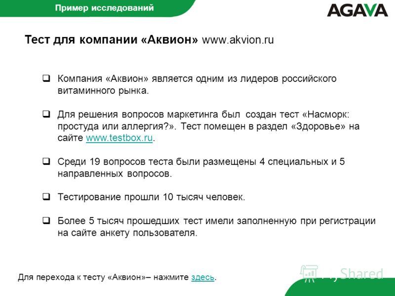 Тест для компании «Аквион» www.akvion.ru Пример исследований Компания «Аквион» является одним из лидеров российского витаминного рынка. Для решения вопросов маркетинга был создан тест «Насморк: простуда или аллергия?». Тест помещен в раздел «Здоровье