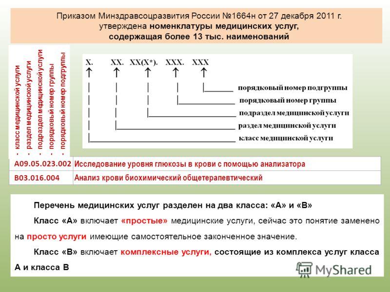 Приказом Минздравсоцразвития России 1664н от 27 декабря 2011 г. утверждена номенклатуры медицинских услуг, содержащая более 13 тыс. наименований Перечень медицинских услуг разделен на два класса: «А» и «В» Класс «А» включает «простые» медицинские усл