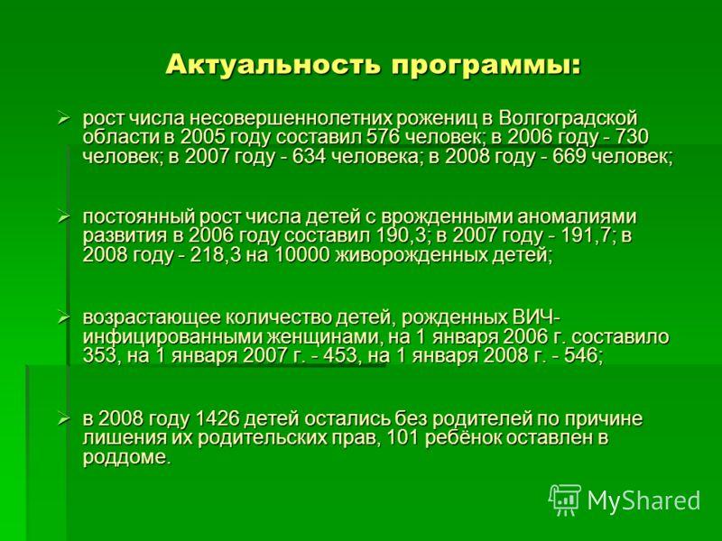 Актуальность программы: рост числа несовершеннолетних рожениц в Волгоградской области в 2005 году составил 576 человек; в 2006 году - 730 человек; в 2007 году - 634 человека; в 2008 году - 669 человек; рост числа несовершеннолетних рожениц в Волгогра