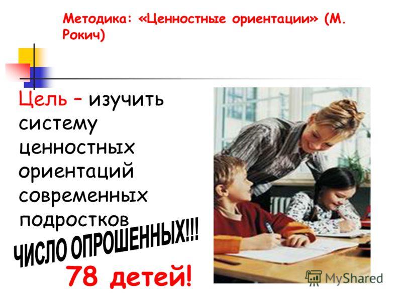 Методика: «Ценностные ориентации» (М. Рокич) Цель – изучить систему ценностных ориентаций современных подростков 78 детей!