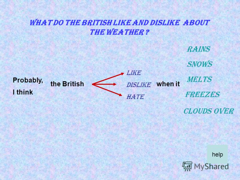 What is the weather like during the four seasons in Britain ? I think Maybe Probably warm hot cold wet sunny cloudy rainy cool stormy foggy windy snowy help