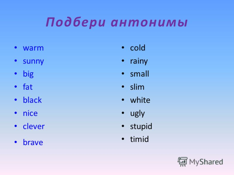 Подбери антонимы warm sunny big fat black nice clever brave cold rainy small slim white ugly stupid timid