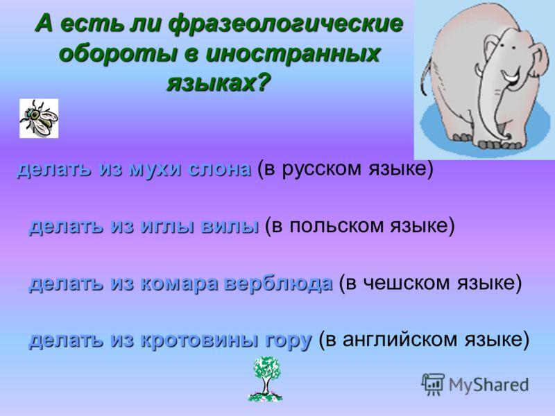 А есть ли фразеологические обороты в иностранных языках? делать из мухи слона делать из мухи слона (в русском языке) делать из иглы вилы делать из иглы вилы (в польском языке) делать из комара верблюда делать из комара верблюда (в чешском языке) дела