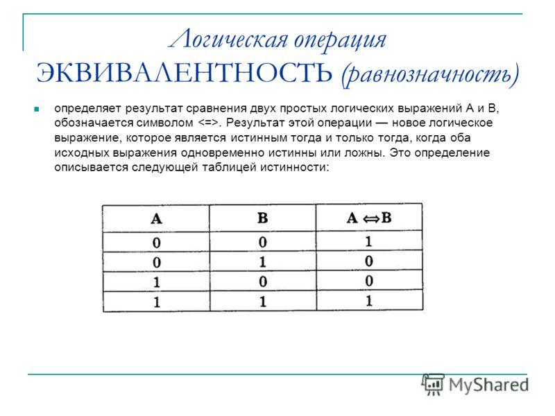 Логическая операция ЭКВИВАЛЕНТНОСТЬ (равнозначность) определяет результат сравнения двух простых логических выражений А и В, обозначается символом. Результат этой операции новое логическое выражение, которое является истинным тогда и только тогда, к