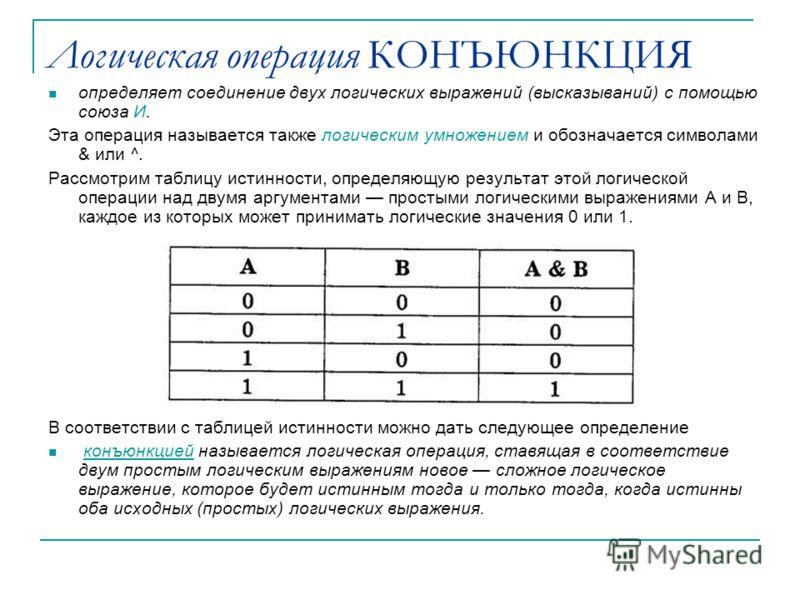 Логическая операция КОНЪЮНКЦИЯ определяет соединение двух логических выражений (высказываний) с помощью союза И. Эта операция называется также логическим умножением и обозначается символами & или ^. Рассмотрим таблицу истинности, определяющую результ
